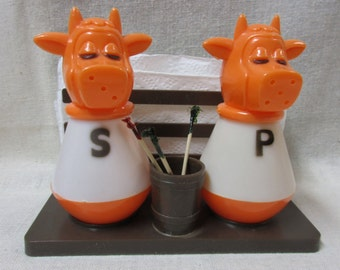 Vintage Plastic Cow/Bull Salt and Pepper Shakers with Napkin Holder and Toothpick Holder
