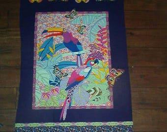 ALEXANDER HENRY fabric panel-RIO-exotic birds, prrots, tropical