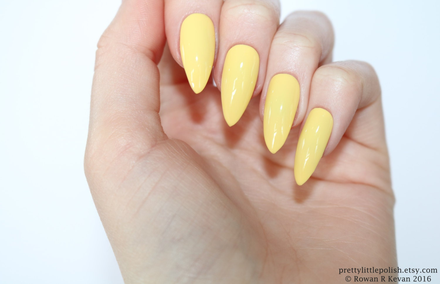 Stiletto nails Pastel yellow stiletto nails Fake nails