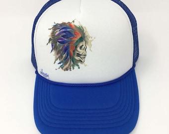 skull art/skull feathers/feather headpiece art/skull design/inkgypsy/custom trucker hats/wearable art/hand painted hats/custom baseball caps