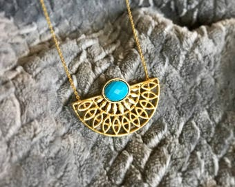 December birthstone, Turquoise Necklace, 14k Gold necklace, Unique Necklace, Gift for Mom, Layering Necklace, Half Moon Necklace