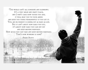 Rocky Balboa Quote B/W Print Poster or Canvas
