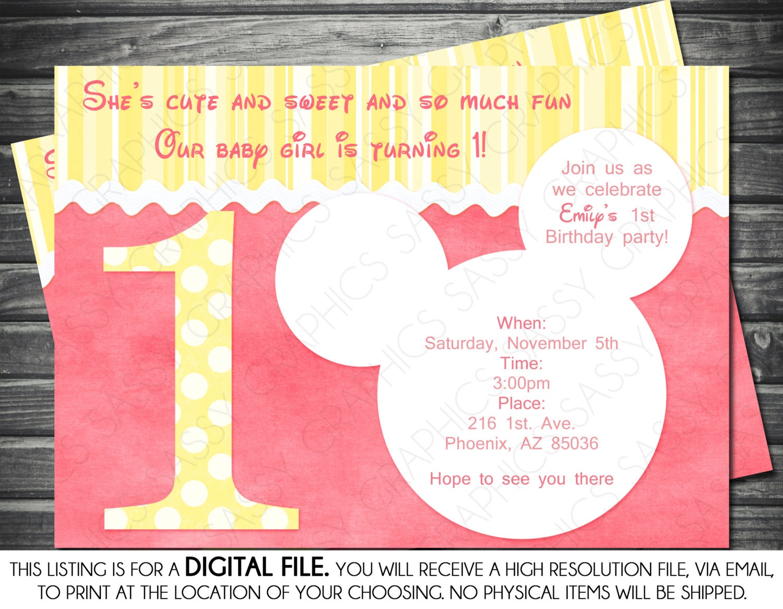 1st Birthday Minnie Mouse Inspired Girl Birthday Invitation
