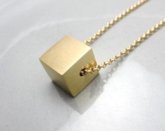 Minimalist Necklace Contemporary Jewelry Design Brass Cube Pendant