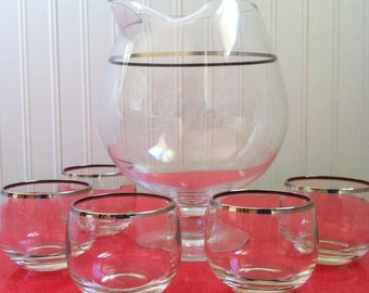 Vintage Roly Poly Glasses with Pitcher set