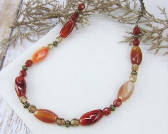 Carnelian Necklace, Nature Lover Gift, Quartz Necklace, Burnt Orange Necklace, Carnelian Stone Necklace, Antique Brass, Gift Idea