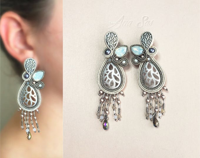 Statement soutache earrings, silver plated details and Swarovski crystals