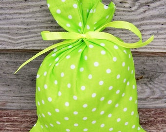 Polka Dot  Green Cotton Favor Bag Set of 5, Wedding Sachet, Small Gift Bag, Handmade , Cotton Bag, Rustic Decor