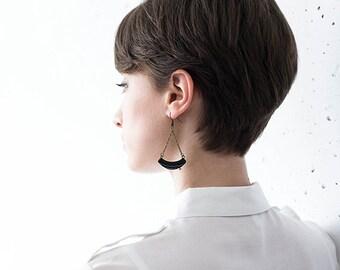Black chain earrings dangle crescent earrings curved