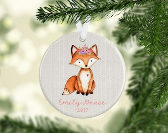 Baby's First Christmas Ornament for Newborn Baby Gift, Woodland Fox Ornament, Keepsake Ornament, Baby's 1st Christmas, Baby Girl, New Baby