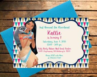 Downloadable Pocahontas with Meeko Themed Birthday Invitation