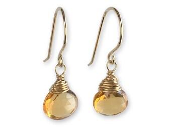 Citrine Earrings - Citrine Jewelry -  Gemstone Earrings - November Birthstone - Gift for Her - Gift for Mom - Gift for Girlfriend