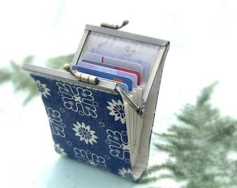 Business Card Holder Wallet, Credit Card Case, Credit Card Organizer, Fabric Card Pouch, Womens wallet, Kiss lock purse, frame purse