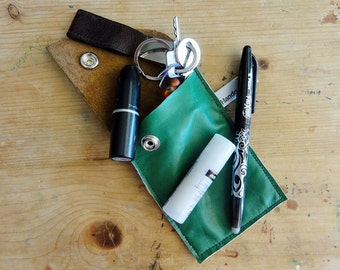 Green Leather Case. Repurposed Leather Case. Eco Friendly Leather Case. Small Leather Case. Small Leather Pouch.