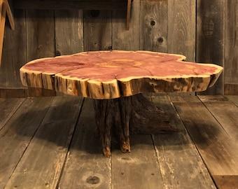 "Rustic Wood Cake Stand, XL, tree stump root base + wood slice top, apprx 26""x21""x2"" top, 10"" tall, Texas Cedar, reclaimed wood stump"