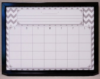 Gray Chevron Calendar Dry Erase Board Whiteboard - Solid Wood Frame, Changeable Graphic, Custom Made to Order