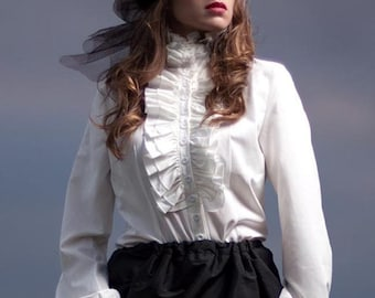 Victorian Steampunk Long sleeve Blouse High Neck long sleeve Frill White Ivory button up Shirt