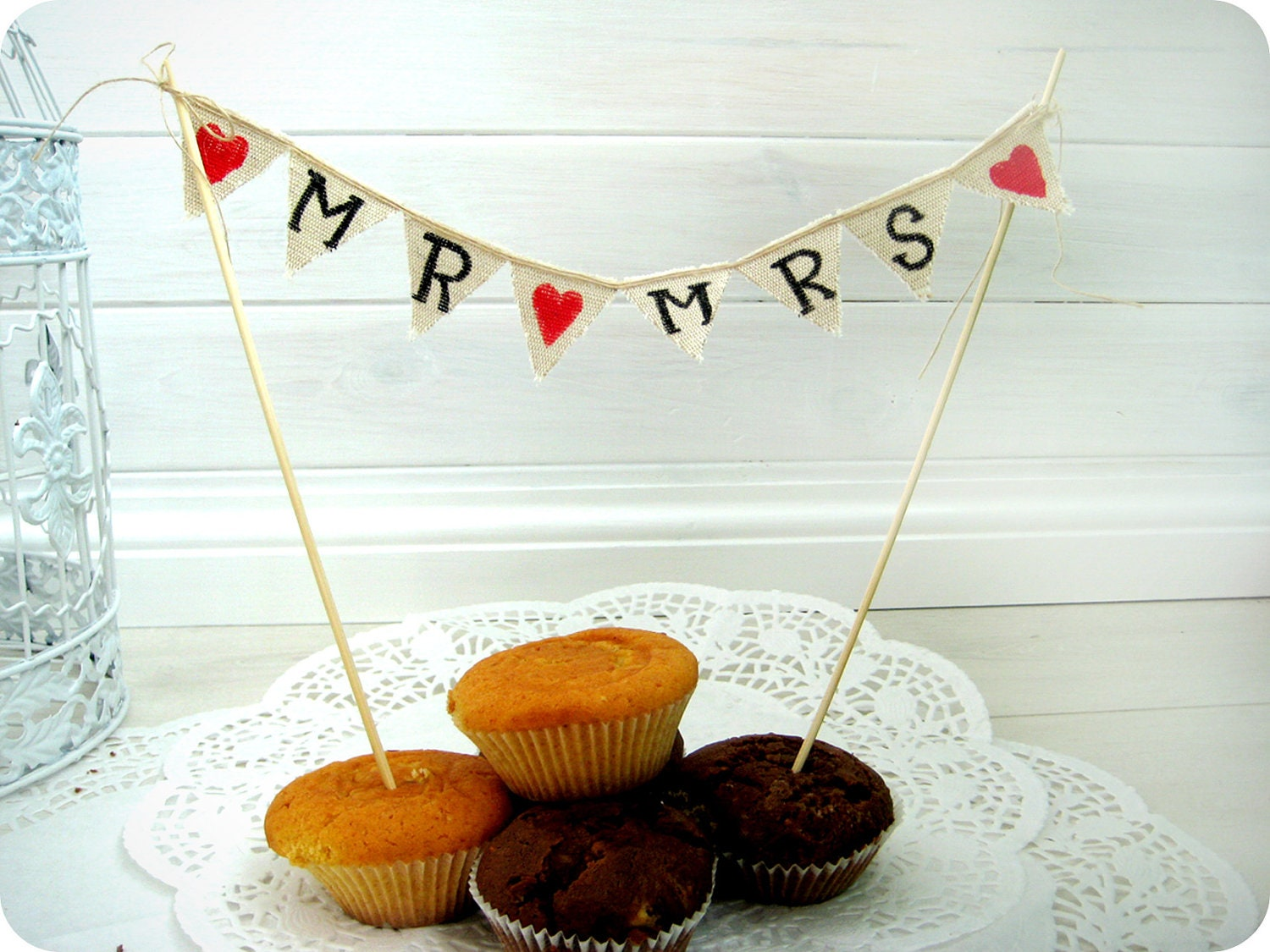 Rustic Mr & Mrs Wedding cake banner pennant bunting style