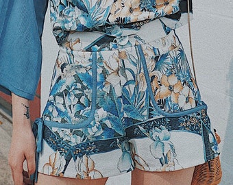 Lost in Kyoto Collection floral blossom blue/green gorgeous shorts