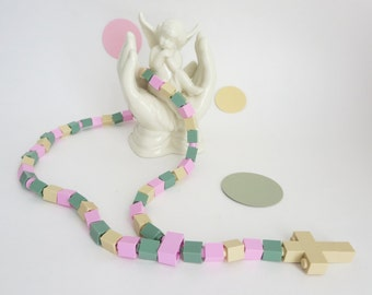 Catholic Rosary - Pink,  Sand Green and Beige Rosary made of Lego Bricks - First Communion Gift