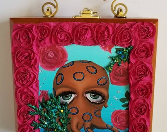 Octopuss and Roses cigar box purse