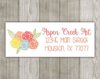 Whimsical Floral Return Address Labels peach/yellow - Sheet of 30 - wedding label, bridal shower label