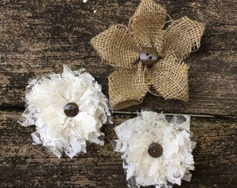Burlap and Lace Flower Collection ~ Set of 3 ~ Rustic ~ Shabby Chic ~ Country Wedding ~ Farmhouse ~ Wedding Cake Flowers ~ Flower Girl