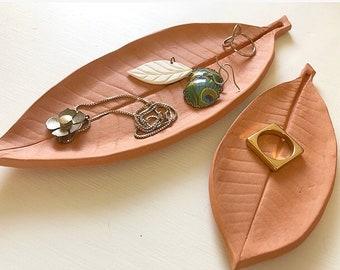 Plumeria Frangipani Leaf tray, terra cotta, jewelry or ring dish, tapas plate, catch all ceramic