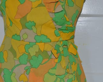 1960s Vintage Dress Yellow and Green Chiffon