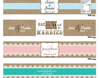 50 Burlap design Waterproof Wedding Water Bottle stickers - hundreds of designs to choose from - change designs to any color or wording