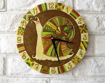 Green Snail Wall Clock, Home Decor