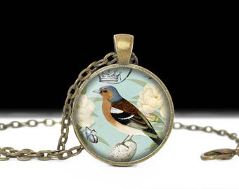Bird Jewelry, Blue with Crown Necklace, Gift for Her. Blue Bird Jewelry. Vintage Style Necklace, Bird Photo Necklace, Dome Pendant