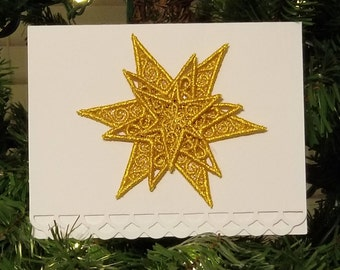 3D Star Embroidered Greeting Card