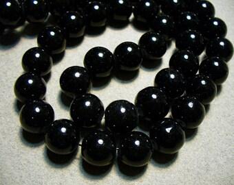 Glass Beads Black Round 10mm