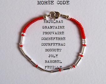 One Les Amis de l'ABC Morse Code Bracelet - Les Misérables - Silver / Gold - Custom Options Available