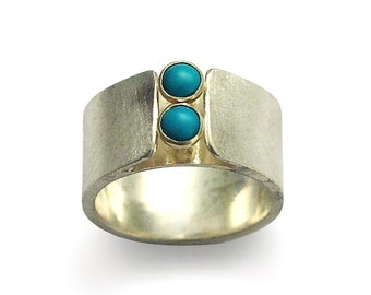 Turquoise mixed metals ring, Turquoise ring, gemstone ring, two tones ring, wide silver band, Stone statement ring, contemporary ring, Sale