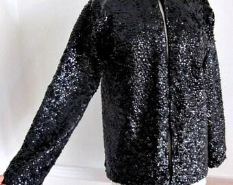 50s Sequin Jacket / Vintage Sequin Jacket / Black Sequin Jacket / Black Sequin Sweater / fits M-L / Vintage Sequin Sweater