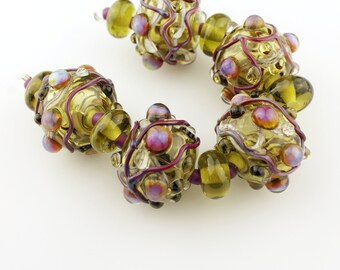Lampwork Beads Set, Olive Green Glass, Large Hollow Beads with Iridescent Dots