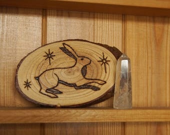 Rustic Country Decor Hare Pyrography Wood Slice Plaque
