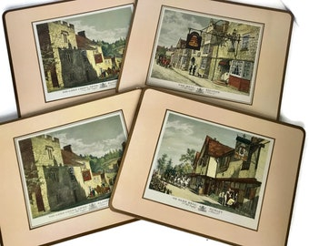 Vintage Pimpernel Placemats, Old English Inns, Set of Four Place Mats, Luncheon Size Table Mats, Boxed Set Placemats, England Countryside