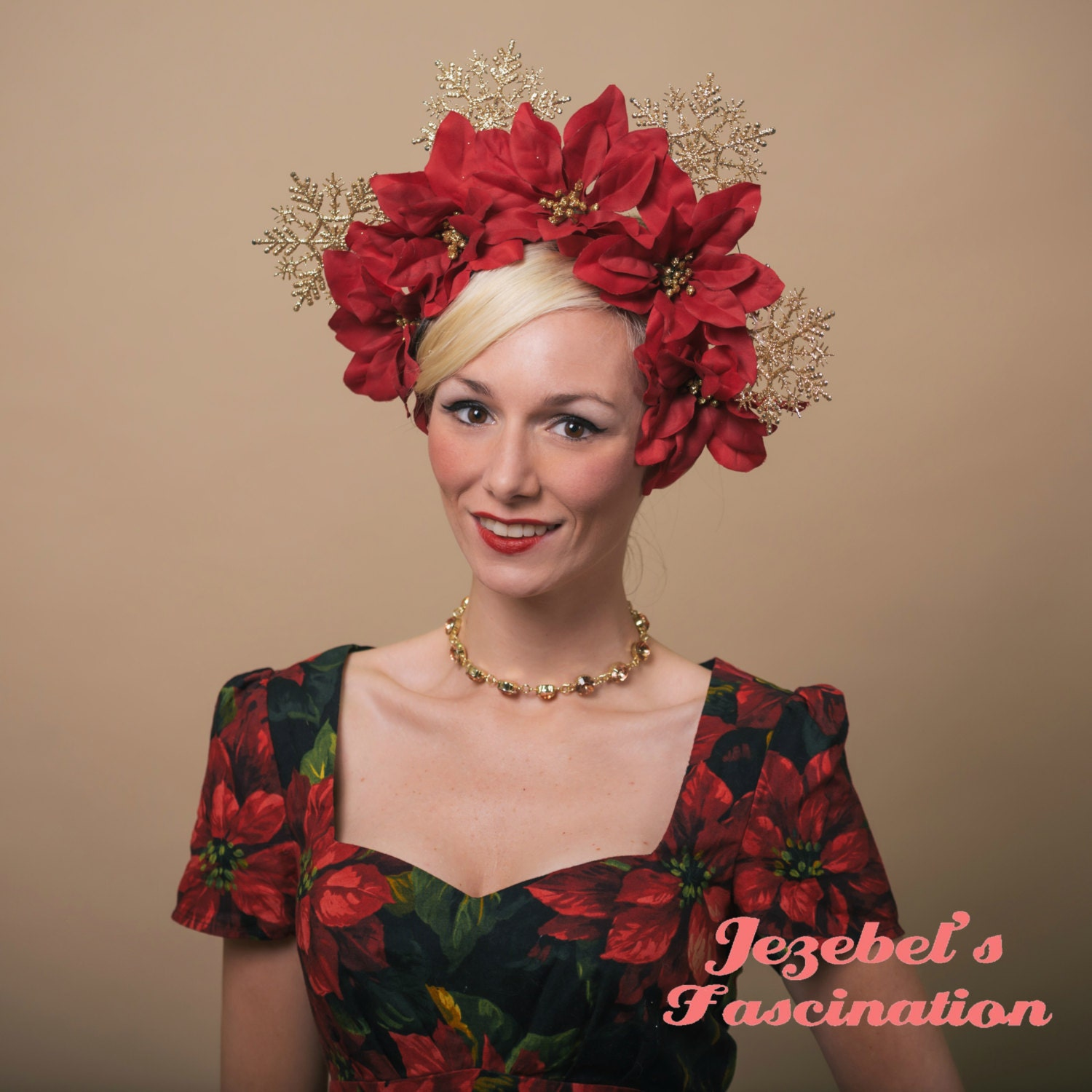 Large red poinsettia flower crown ugly christmas sweater head piece large red poinsettia flower crown ugly christmas sweater head piece novelty party headdress gold glitter snowflake holiday headpiece drag izmirmasajfo