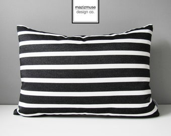 Black & White Outdoor Pillow Cover, Decorative Striped Pillow Cover, Modern Pillow Cover, Sunbrella Cushion Cover, Tuxedo Stripe, Mazizmuse