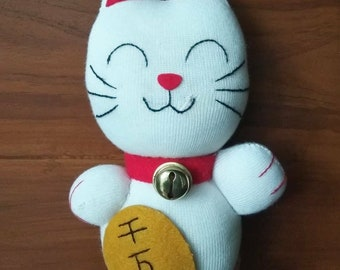 Maneki Neko Lucky Cat Sock Doll