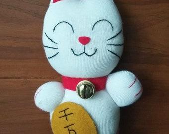 Maneki Neko Lucky Cat Sock Doll