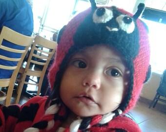 Ladybug crochet hat, ladybug hat, crochet hat