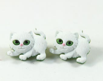 Cat studs, Cat earrings, White cat earrings, White cat studs, Pet earrings, Pet studs, Cat lovers gift