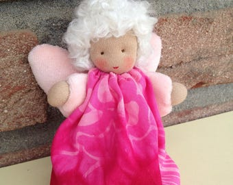 Waldorf Angel with Pink dress, Waldorf doll, guardian angel, Lucky charm, gift for girls, gift for women, pink,