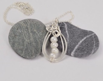 White Pearls Waterfall in Pure Silver Teardrop Pendant on Sterling Chain