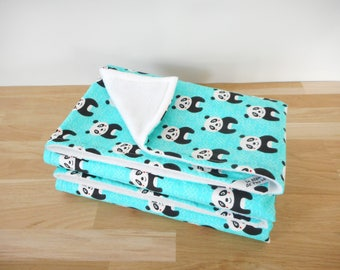 Blanket 60 x 90 cm, fabric blue/green printed pandas, black and white baby bed linen, room child, birthday gift, baby