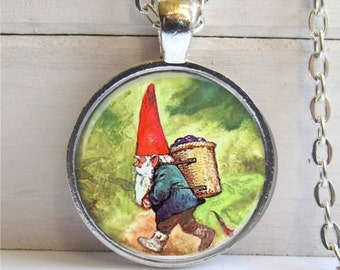 Gnome Pendant, Whimsical Gnome Necklace, Silver and Glass Gnome Charm